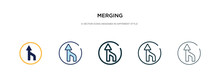 Merging Icon In Different Style Vector Illustration. Two Colored And Black Merging Vector Icons Designed In Filled, Outline, Line And Stroke Style Can Be Used For Web, Mobile, Ui