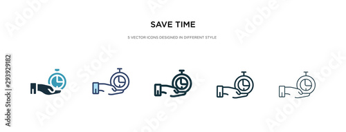 Fototapeta save time icon in different style vector illustration. two colored and black save time vector icons designed in filled, outline, line and stroke style can be used for web, mobile, ui obraz