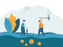 Man Mining For Bitcoins Crypto...