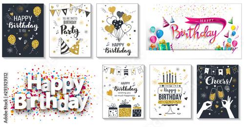 Fotografía  Happy birthday greeting card and party invitation templates, vector illustration