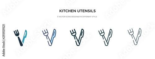 Valokuva  kitchen utensils icon in different style vector illustration