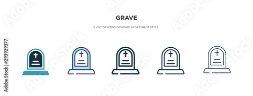grave icon in different style vector illustration Fototapet