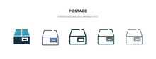 Postage Icon In Different Style Vector Illustration. Two Colored And Black Postage Vector Icons Designed In Filled, Outline, Line And Stroke Style Can Be Used For Web, Mobile, Ui