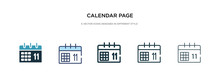 Calendar Page Icon In Different Style Vector Illustration. Two Colored And Black Calendar Page Vector Icons Designed In Filled, Outline, Line And Stroke Style Can Be Used For Web, Mobile, Ui
