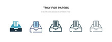 Tray For Papers Icon In Different Style Vector Illustration. Two Colored And Black Tray For Papers Vector Icons Designed In Filled, Outline, Line And Stroke Style Can Be Used For Web, Mobile, Ui