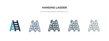 Hanging Ladder Icon In Differe...