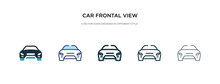 Car Frontal View Icon In Different Style Vector Illustration. Two Colored And Black Car Frontal View Vector Icons Designed In Filled, Outline, Line And Stroke Style Can Be Used For Web, Mobile, Ui