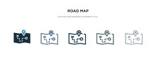 Road Map Icon In Different Style Vector Illustration. Two Colored And Black Road Map Vector Icons Designed In Filled, Outline, Line And Stroke Style Can Be Used For Web, Mobile, Ui