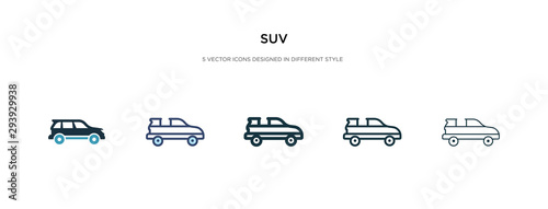 Cuadros en Lienzo  suv icon in different style vector illustration