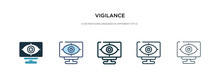 Vigilance Icon In Different Style Vector Illustration. Two Colored And Black Vigilance Vector Icons Designed In Filled, Outline, Line And Stroke Style Can Be Used For Web, Mobile, Ui