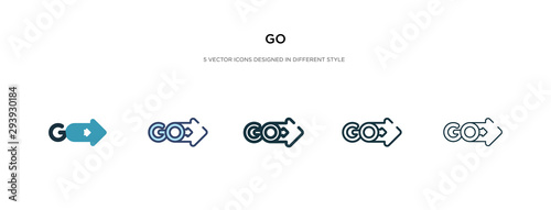 Fototapeta go icon in different style vector illustration