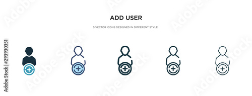 add user icon in different style vector illustration Tableau sur Toile