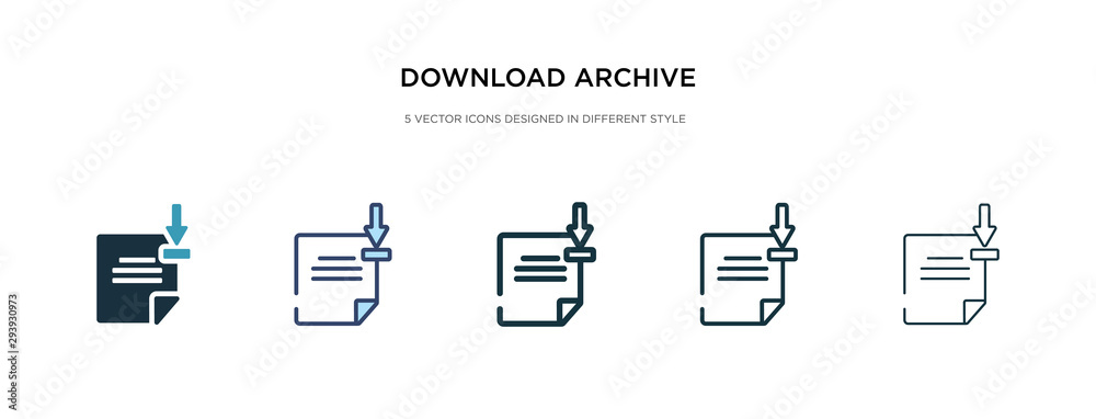 Fototapeta download archive icon in different style vector illustration. two colored and black download archive vector icons designed in filled, outline, line and stroke style can be used for web, mobile, ui