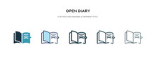 Open Diary Icon In Different Style Vector Illustration. Two Colored And Black Open Diary Vector Icons Designed In Filled, Outline, Line And Stroke Style Can Be Used For Web, Mobile, Ui