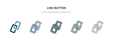 Link Button Icon In Different Style Vector Illustration. Two Colored And Black Link Button Vector Icons Designed In Filled, Outline, Line And Stroke Style Can Be Used For Web, Mobile, Ui