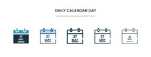Daily Calendar Day 14 Icon In Different Style Vector Illustration. Two Colored And Black Daily Calendar Day 14 Vector Icons Designed In Filled, Outline, Line And Stroke Style Can Be Used For Web,
