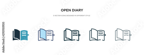 Photo open diary icon in different style vector illustration