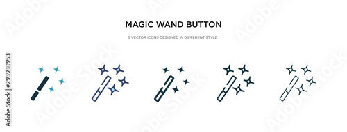 Fotografía magic wand button icon in different style vector illustration