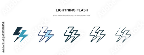 Obraz lightning flash icon in different style vector illustration. two colored and black lightning flash vector icons designed in filled, outline, line and stroke style can be used for web, mobile, ui - fototapety do salonu