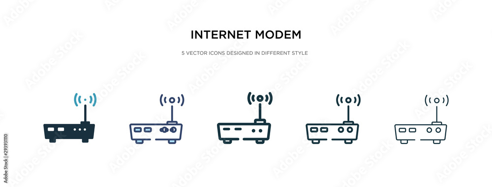 Fototapeta internet modem icon in different style vector illustration. two colored and black internet modem vector icons designed in filled, outline, line and stroke style can be used for web, mobile, ui