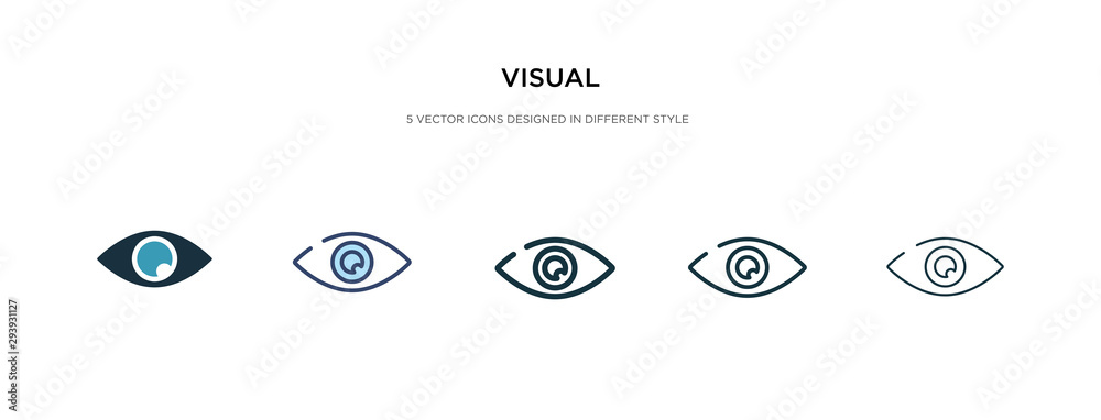 Fototapeta visual icon in different style vector illustration. two colored and black visual vector icons designed in filled, outline, line and stroke style can be used for web, mobile, ui
