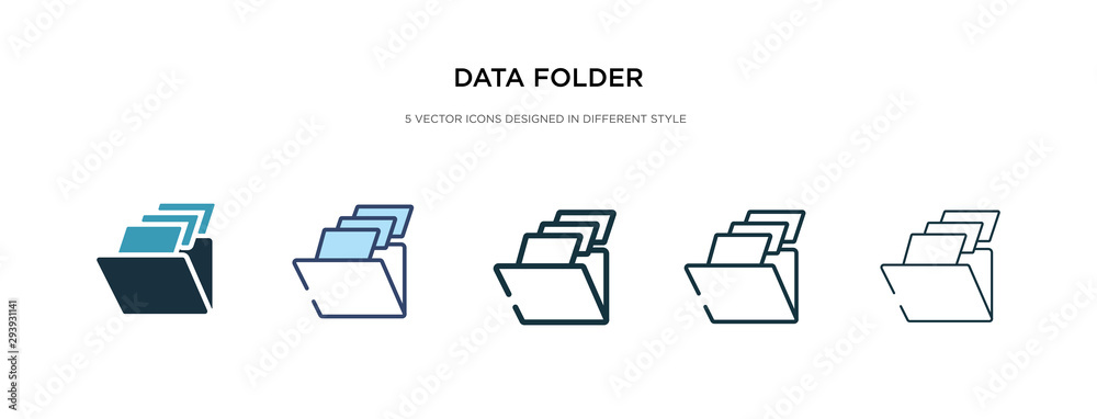 Fototapeta data folder icon in different style vector illustration. two colored and black data folder vector icons designed in filled, outline, line and stroke style can be used for web, mobile, ui