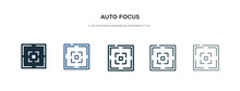 Auto Focus Icon In Different Style Vector Illustration. Two Colored And Black Auto Focus Vector Icons Designed In Filled, Outline, Line And Stroke Style Can Be Used For Web, Mobile, Ui