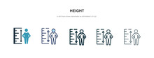 Height Icon In Different Style Vector Illustration. Two Colored And Black Height Vector Icons Designed In Filled, Outline, Line And Stroke Style Can Be Used For Web, Mobile, Ui