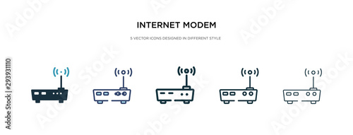 Photo internet modem icon in different style vector illustration