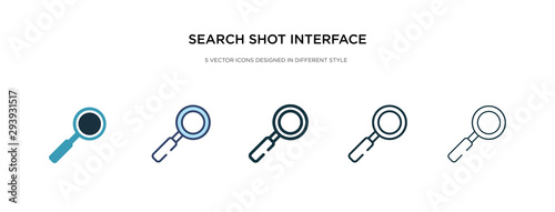 search shot interface with a magnifier tool icon in different style vector illustration. two colored and black search shot interface with a magnifier tool vector icons designed in filled, outline,