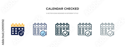 calendar checked icon in different style vector illustration Obraz na płótnie