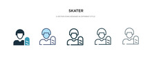 Skater Icon In Different Style Vector Illustration. Two Colored And Black Skater Vector Icons Designed In Filled, Outline, Line And Stroke Style Can Be Used For Web, Mobile, Ui