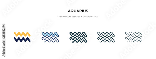 aquarius icon in different style vector illustration Wallpaper Mural