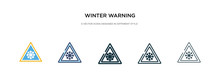 Winter Warning Icon In Different Style Vector Illustration. Two Colored And Black Winter Warning Vector Icons Designed In Filled, Outline, Line And Stroke Style Can Be Used For Web, Mobile, Ui