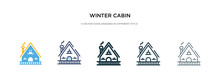 Winter Cabin Icon In Different...