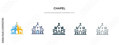 Leinwand Poster  chapel icon in different style vector illustration