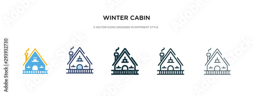 winter cabin icon in different style vector illustration. two colored and black winter cabin vector icons designed in filled, outline, line and stroke style can be used for web, mobile, ui