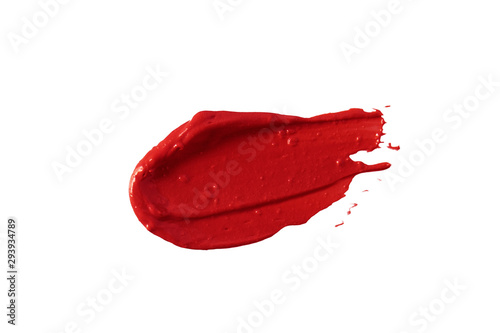Red lipstick smear smudge swatch isolated on white background Fototapet