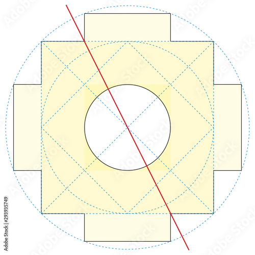 Photo Chakana construction method, Andean square cross, the most important symbol of Andean culture on white background