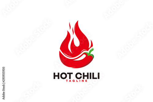 hot chili logo icon vector isolated Wallpaper Mural