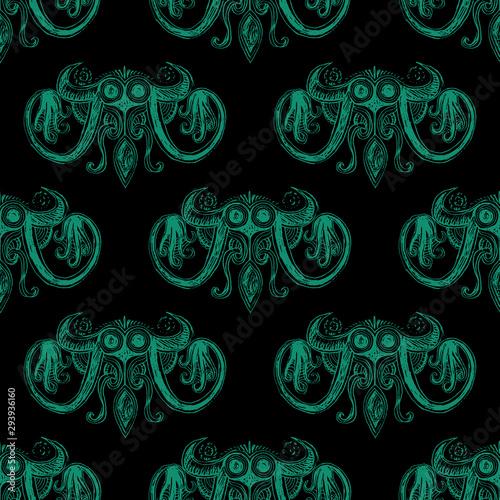 Seamless repeating pattern with fantastic sea monsters Wallpaper Mural