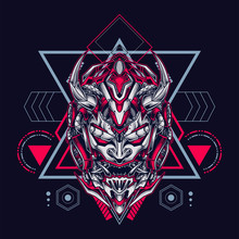 Oni Mecha Mask Illustration