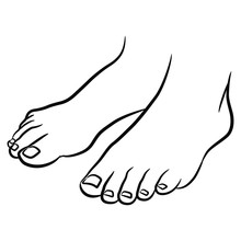 Two Standing Bare Human Feet. Black And White Linear Silhouette. Isolated Vector Illustration.
