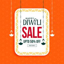 Happy Diwali Sale Banner With Hanging Diya Design