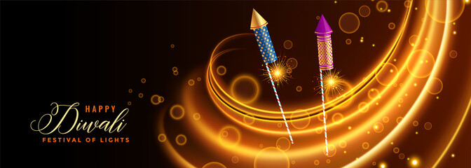 happy diwali celebration banner with rocket cracker and lights