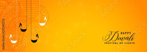 Fotografie, Obraz  lovely happy diwali yellow banner design with diya