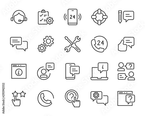 set of support icons, help, communication, info, customer service Canvas Print