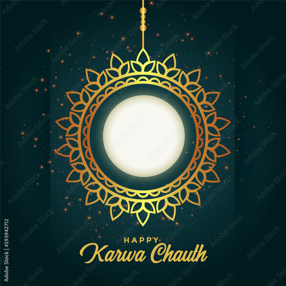 Fototapeta happy karwa chauth decoration with full moon design