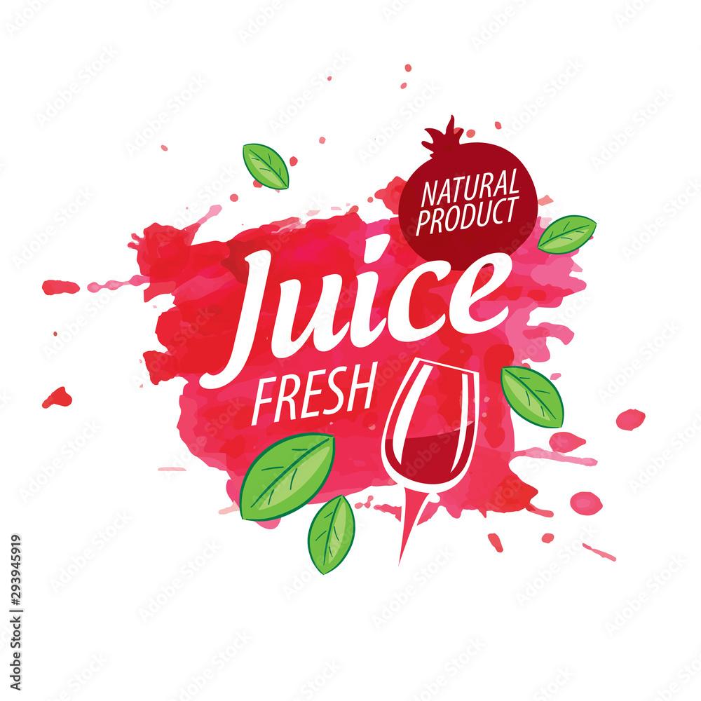 Fototapety, obrazy: Vector logo pomegranate juice splash on white background