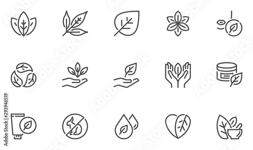 Fototapeta Natural and organic cosmetics vector line icons set. Skincare, no synthetic fragrance and colors, no animal testing. Editable stroke. 48x48 Pixel Perfect. obraz